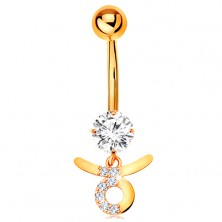 Piercing nombril en or jaune 14K - zirconium transparent, signe de zodiaque - TAUREAU