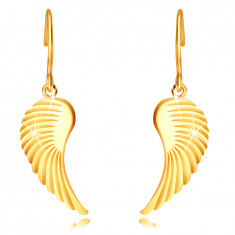 Boucles d'oreilles en or 14K - grandes ailes d'ange, surface brillante, crochets africains