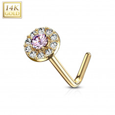Piercing de nez courbé en or 14K - zirconium rose doublé de zirconiums clairs