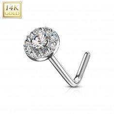Piercing de nez courbé en or blanc 14K - zirconium transparent doublé de zirconiums transparents
