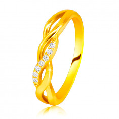 Bague brillante en or jaune 14K - ondulations entrelacées, ligne de brillants